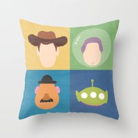 toy story Throw Pillows featuring Toy Story by Raquel Segal