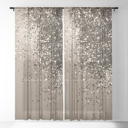 Sparkling Sepia Lady Glitter #1 #shiny #decor #art #society6 Sheer Curtain
