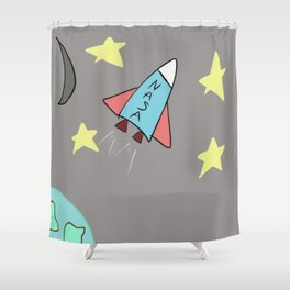 Spaceship Among the Stars Drawing Shower Curtain