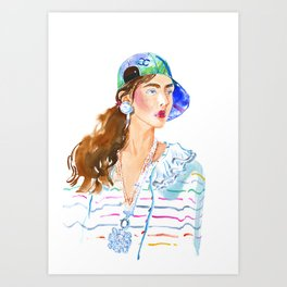 fashion #50: girl in a striped blouse and cap Art Print