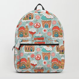 Gingerbread Candy Land on blue Backpack
