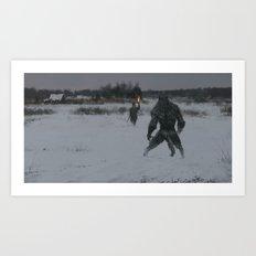 hunting at night Art Print