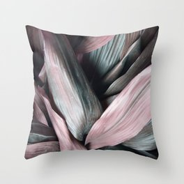 Pink Plant Leaves Throw Pillow