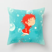 ponyo Throw Pillows featuring Ponyo by Peerro