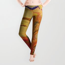 Yellow Bloom Nature floral Abstract Art Leggings