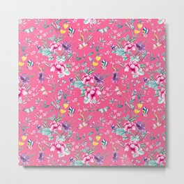 Floral Chinoiserie - Pink Metal Print