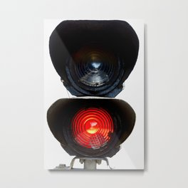 Red Warning Light Of A Railroad Signal Lamp Metal Print