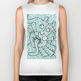 """The Face"" - inspired by Keith Haring v. teal Biker Tank"