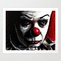 pennywise Art Prints featuring Pennywise by Alycia Plank