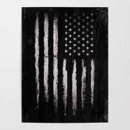 White Grunge American flag Poster