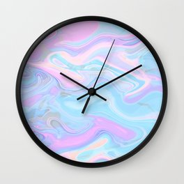 Sea Marble Candy Pattern - Violet, Aqua and Blue Wall Clock