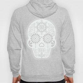 Día de Muertos Calavera • Mexican Sugar Skull – White on Black Palette Hoody