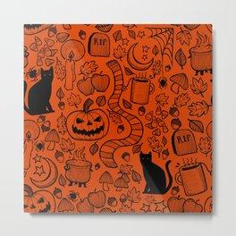 October Pattern- Black & Orange Metal Print