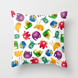 Colorful Cute Monsters Fun Cartoon Throw Pillow