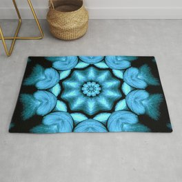 Blue Green Heart Mandala Kaleidoscope Pattern Rug