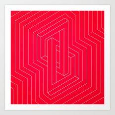 Modern minimal Line Art / Geometric Optical Illusion - Red Version  Art Print