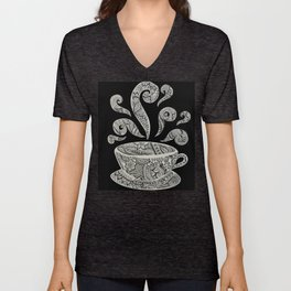 But first, Coffee - tea coffee lover zentangle Unisex V-Neck