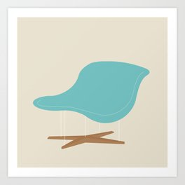Blue La Chaise Chair by Charles & Ray Eames Art Print
