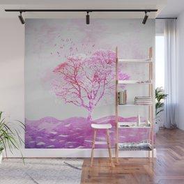 Soft pink minimalist landscape Wall Mural