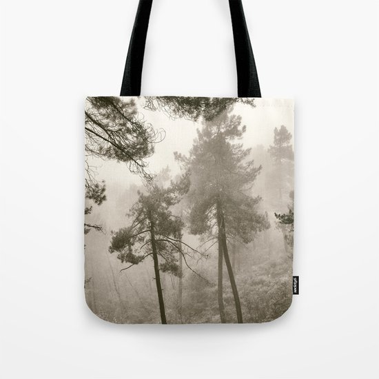 """Into the woods"". Mono. Wandering into the fog. Tote Bag"