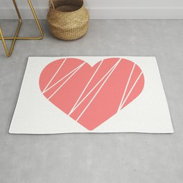 Pink Heart Geometric Lines Rug
