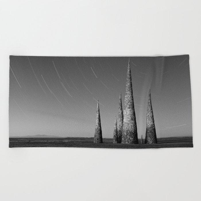 Grey black cones 4 Beach Towel