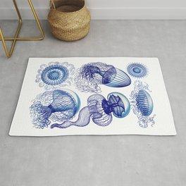 Ernst Haeckel Jellyfish Leptomedusae Vivid Blues Rug