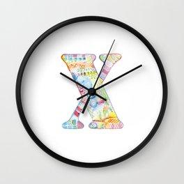 Letter X - Watercolor Monogram - Colorful Lettering - Watercolor Letter Print - Watercolor Initial Wall Clock