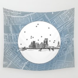 Pittsburgh, Pennsylvania City Skyline Illustration Drawing Wall Tapestry
