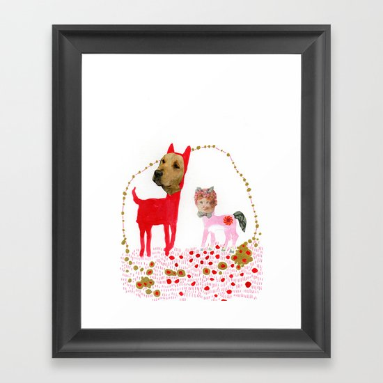 Cat and Dog  Framed Art Print