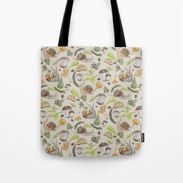 Woodland Snail in Watercolor Fungi Forest, Moss Green and Ochre Earth Animal Pattern Tote Bag