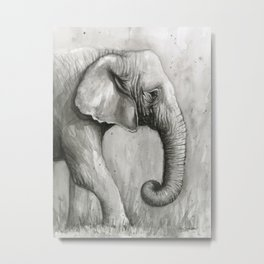 Elephant Black and White Watercolor Metal Print