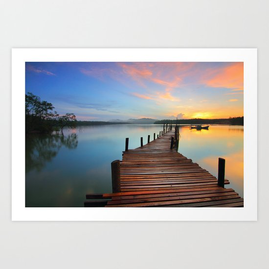 Pier on the Water at Sunset  Art Print