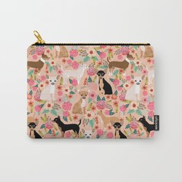 Chihuahua mixed coats dog breed floral pet art must have chiwawa lover gifts Carry-All Pouch