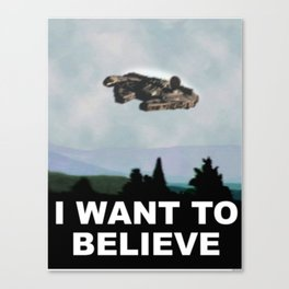 Falcon I Want to Believe  Canvas Print