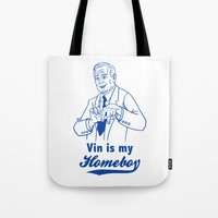 dodgers Tote Bags featuring Vin is my homeboy by GOGILAND