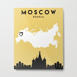 MOSCOW RUSSIA LOVE CITY SILHOUETTE SKYLINE ART Metal Print