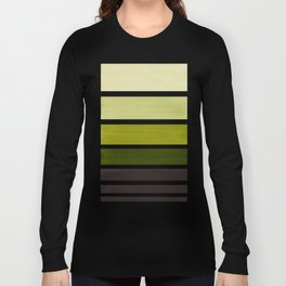 Olive Green Minimalist Watercolor Mid Century Staggered Stripes Rothko Color Block Geometric Art Long Sleeve T-shirt