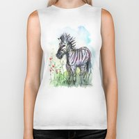 zebra Biker Tanks featuring Zebra by Olechka