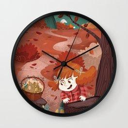 Autumn time | Giadina and mushrooms Wall Clock