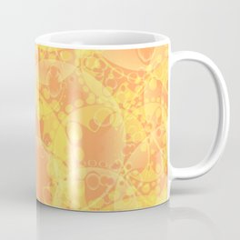 Spring pastels gently orange and yellow circles and ellipses with the image of abstract flowers. Coffee Mug