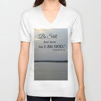 scripture V-neck T-shirts featuring Hilton Head Island, Scripture by Stephanie Stonato