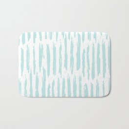 Vertical Dash Stripes Succulent Blue and White Bath Mat