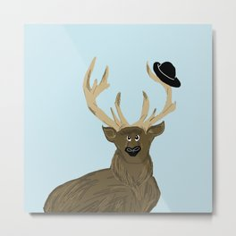 Dexter The Stag illustration print Metal Print