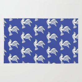 Flying Birds Pattern Blue Rug