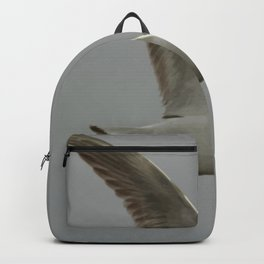 Seagull In Flight Against Gray Sky Vector Backpack
