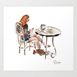 Coffee in Rice Village Art Print
