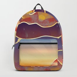 Golden sunset over rolling hills and mountains Backpack