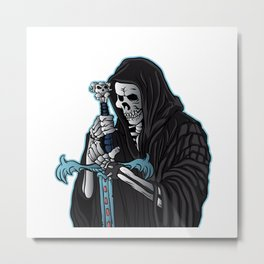 grim reaper with sword .grim reaper tattoo. Metal Print