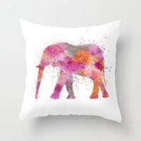artsy Throw Pillows featuring Artsy Elephant by LebensART